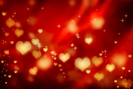 Golden shiny hearts on red satin background
