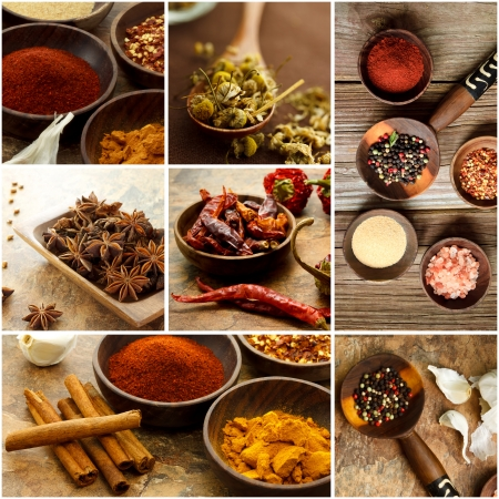 Collage of many Spices