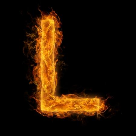 Fiery uppercase letter L