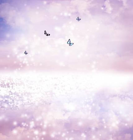 Blue butterflies on a fantasy lake in twilight