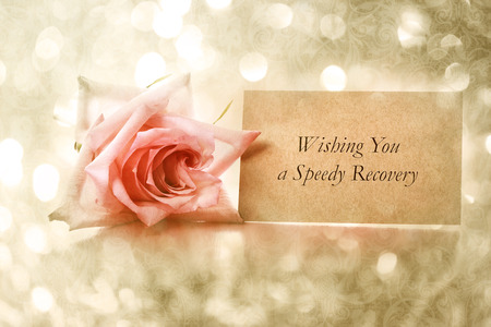 Wishing You a fast Recovery message with vintage rose