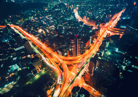 Aerial view cityscape at night in Shinjuku, Tokyo, Japan