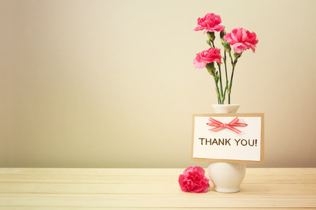 Thank you card with pink carnations in a white vase