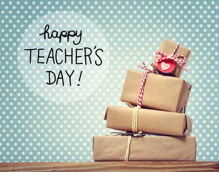 Foto de Teachers Day message with stack of gift boxes - Imagen libre de derechos