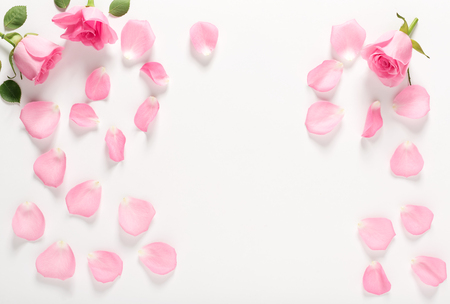 Photo for Roses and leaves top view - Royalty Free Image