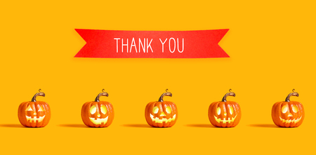 Foto für Thank you message with orange pumpkin lanterns with a red banner - Lizenzfreies Bild