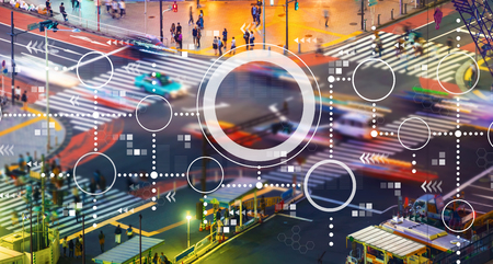 Photo pour Connected circles chart with busy city traffic intersection - image libre de droit