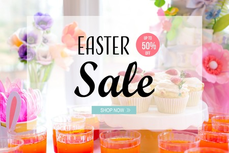 Photo for Easter sale message with dessert table with cupcakes and flowers - Royalty Free Image