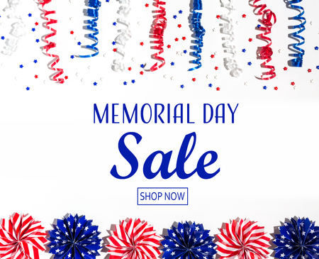 Memorial day sale message with red and blue colored decorations