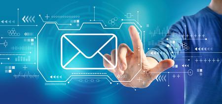 Photo pour Email with a man on a blue background - image libre de droit