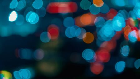 Photo for Blurred abstract bokeh background of city lights at night - Royalty Free Image