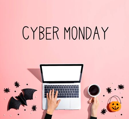 Photo for Cyber Monday banner with laptop and Halloween decorations - flat lay - Royalty Free Image