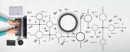 Photo pour Connected circles chart with person using a laptop - image libre de droit