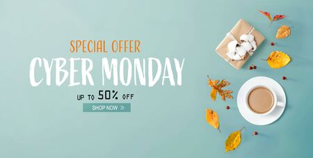 Photo for Cyber Monday banner with autumn theme with coffee and gift box - Royalty Free Image