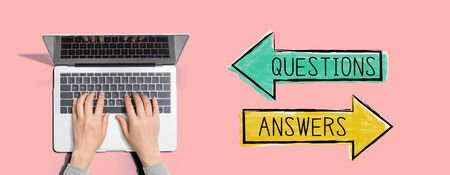 Photo pour Questions and answers with person using a laptop computer - image libre de droit
