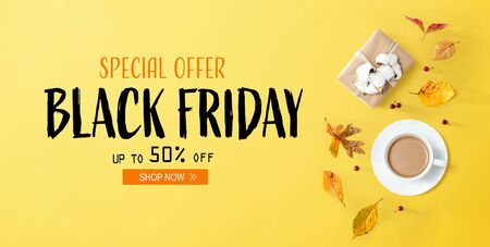 Photo for Black Friday banner with autumn theme with coffee and gift box - Royalty Free Image