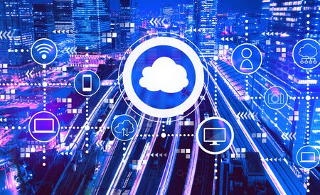 Photo pour Cloud computing with aerial view of a large train station in Tokyo, Japan - image libre de droit