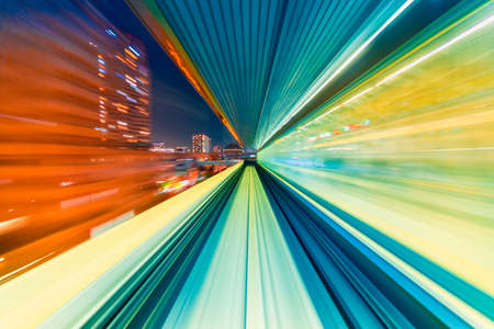 Photo for Abstract high speed technology POV train motion blurred concept from the Yuikamome monorail in Tokyo, Japan - Royalty Free Image