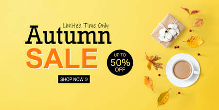 Photo pour Autumn sale banner with autumn theme with coffee and gift box - image libre de droit