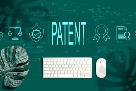 Photo for Patent concept with a computer keyboard and a mouse - Royalty Free Image