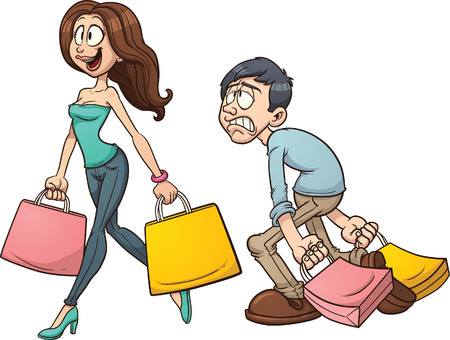 Cartoon couple shopping  Vector clip art illustration with simple gradients  Each character on a separate layer