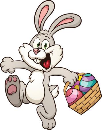Ilustración de Cartoon Easter bunny jumping with egg basket  Vector clip art illustration with simple gradients  All in a single layer   - Imagen libre de derechos