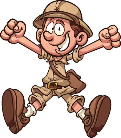 Cartoon jungle explorer clip art illustration with simple gradients  All in a single layer