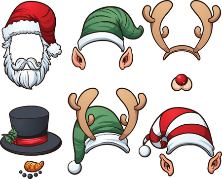Christmas hats  Vector clip art illustration with simple gradients