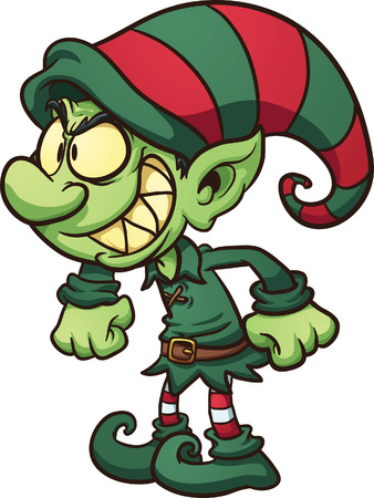 Evil Christmas elf  Vector clip art illustration with simple gradients