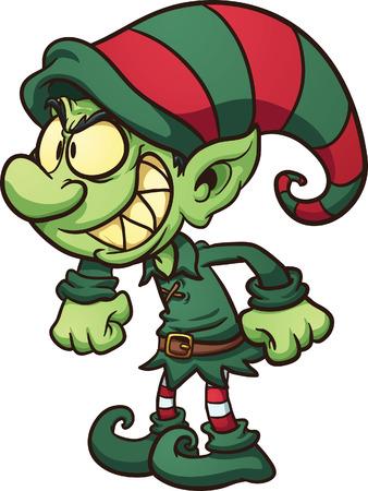 Illustration pour Evil Christmas elf  Vector clip art illustration with simple gradients   - image libre de droit