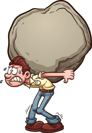 Illustration for Man carrying a heavy burden, a huge rock. Vector clip art illustration with simple gradients. Man and rock on separate layer. - Royalty Free Image