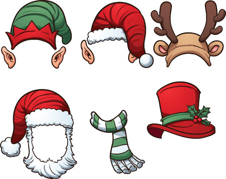 Christmas hats and scarf. Vector clip art illustration with simple gradients. Each on a separate layer.