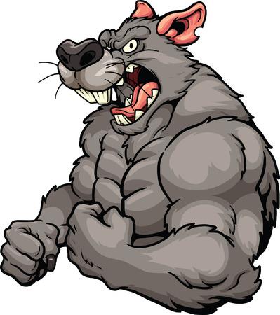 Illustration pour Angry rat mascot. Vector clip art illustration. All in a single layer. - image libre de droit