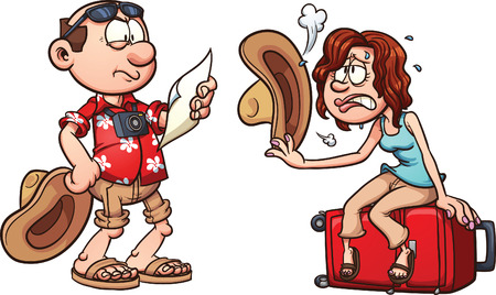 Lost tourist couple. Vector clip art illustration with simple gradients. Each element on a separate layer.