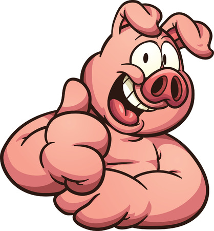 Cartoon pig with thumb up. Vector clip art illustration with simple gradients. All in a single layer.