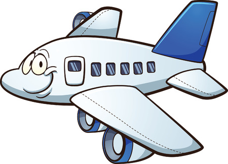 Illustration pour Happy cartoon airplane. Vector clip art illustration with simple gradients. Airplane and face on separate layers. - image libre de droit