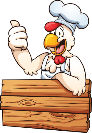 Cartoon chicken chef with a wooden sign