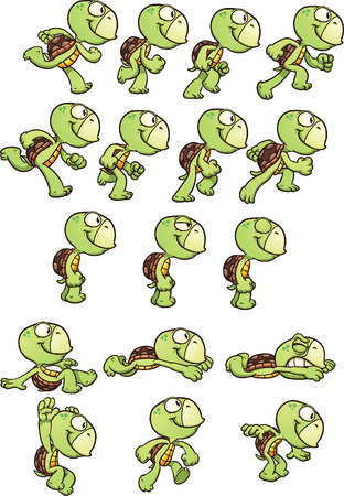 Cartoon turtle sprites ready for animation. Vector clip art illustration with simple gradients. Each element on a separate layer.のイラスト素材