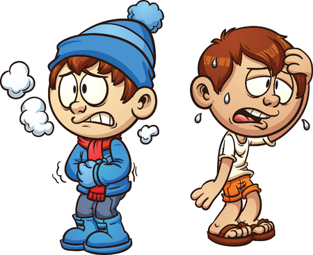 Hot and cold boy. Vector clip art illustration with simple gradients. Each on a separate layer.