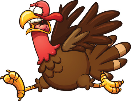 Scared cartoon turkey. Vector clip art illustration with simple gradients. Elements on separate layers.