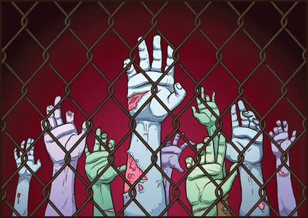 Illustration pour Zombie hands behind a fence. Vector clip art illustration with simple gradients. Fence, background and hands on separate layers. - image libre de droit