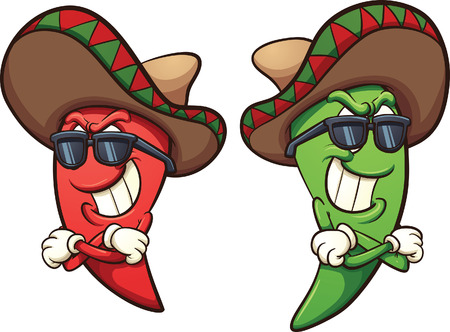 Illustration for Mexican red and green chili peppers. Vector clip art illustration with simple gradients. Shades and peppers on separate layers. - Royalty Free Image