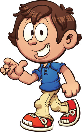 Illustration for Cartoon boy walking and pointing. Vector clip art illustration with simple gradients. Some elements on separate layers. Both legs are fixed together and on the same layer. - Royalty Free Image