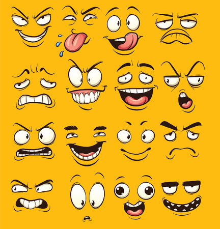 Funny cartoon faces. clip art illustration with simple gradients. Each face on a separate layer.