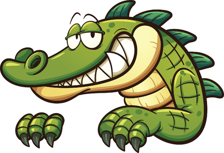 Illustration for Cartoon crocodile. Vector clip art illustration with simple gradients. All in a single layer. - Royalty Free Image