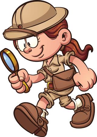 Ilustración de Cartoon safari girl using a magnifying glass. Vector clip art illustration with simple gradients. All in a single layer. - Imagen libre de derechos