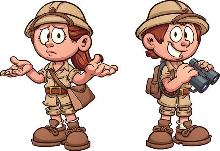 Ilustración de Explorer kids in safari outfits. Vector clip art cartoon illustration with simple gradients. Each on a separate layer. - Imagen libre de derechos