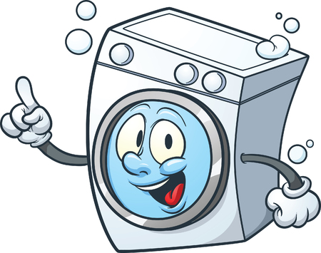 Cartoon washing machine. clip art illustration with simple gradients. All in a single layer.