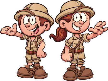 Ilustración de Cartoon safari kids. Vector clip art illustration with simple gradients. Each on a separate layer. - Imagen libre de derechos