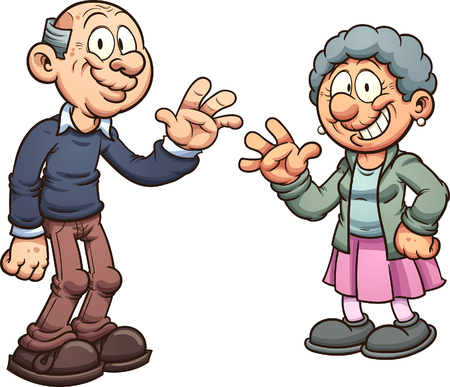 Illustration for Cartoon grandparents. Vector clip art illustration with simple gradients. Each on a separate layer. - Royalty Free Image